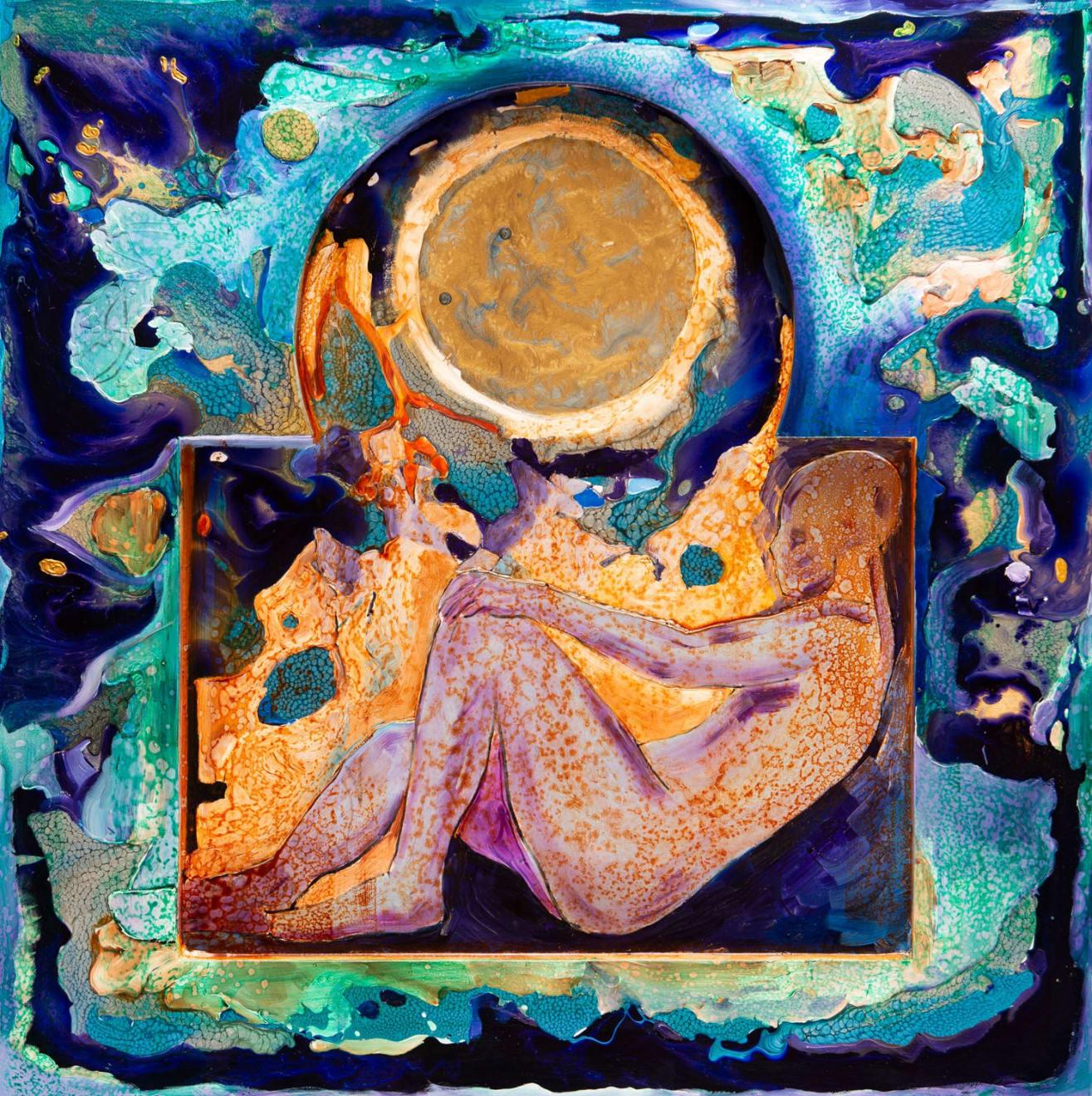 Pensive Mood II, Oils and mix media on Three dimensional wood panel