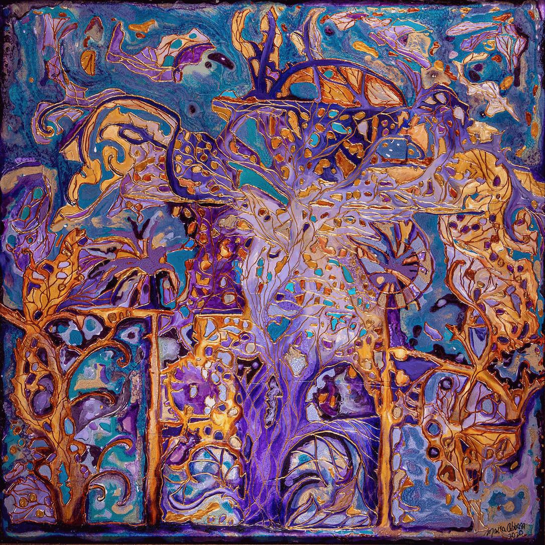 Purple Dreams, Oils and mix media on wood panel