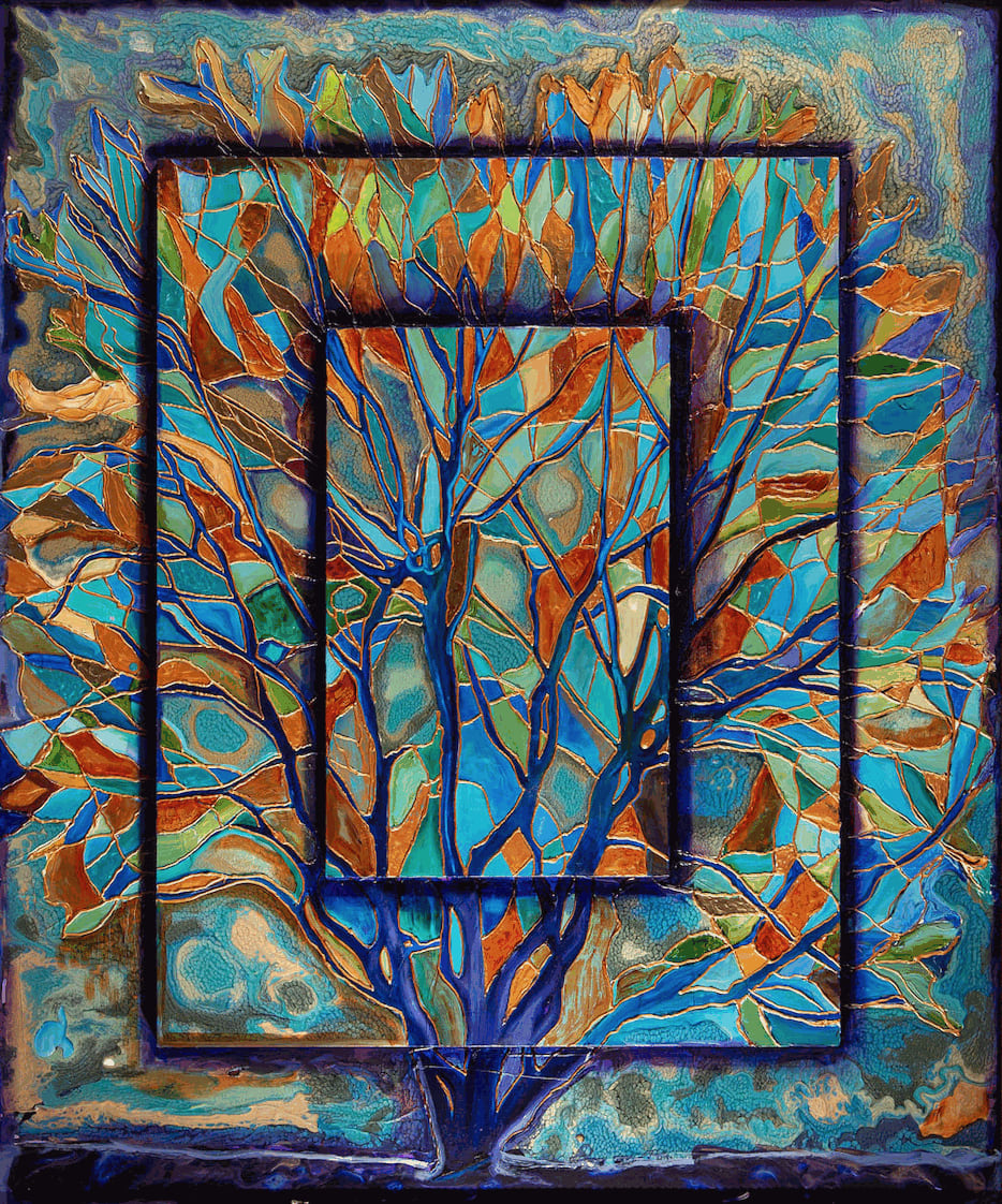 Peacocks Dance In the Woods, Oils and mix media on Three dimensional wood panel