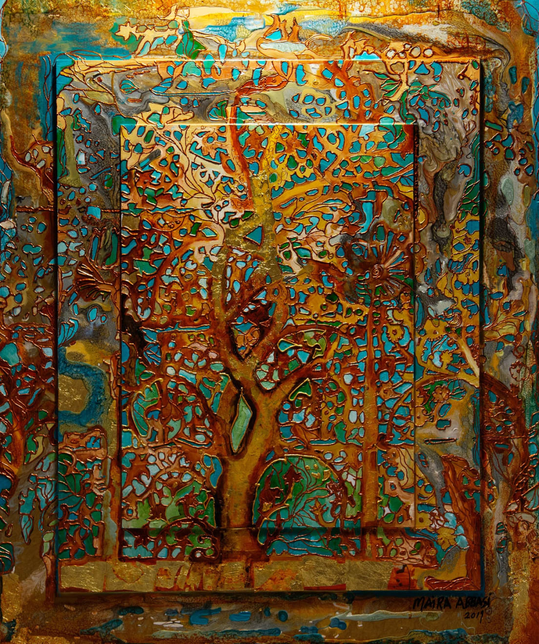 Oxidized Tree of Life, Oils and mix media on Three dimensional wood panel