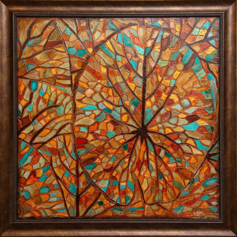 Lotus Leaf Mosaic 36x36 Framed 42x42