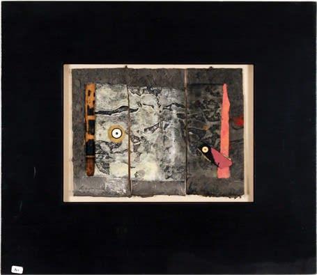 Armond Lara, Collage #1, Mixed-media collage, 15 x 17.5 in, Starting Bid: $150. Courtesy of Zane Bennett Contemporary Art.