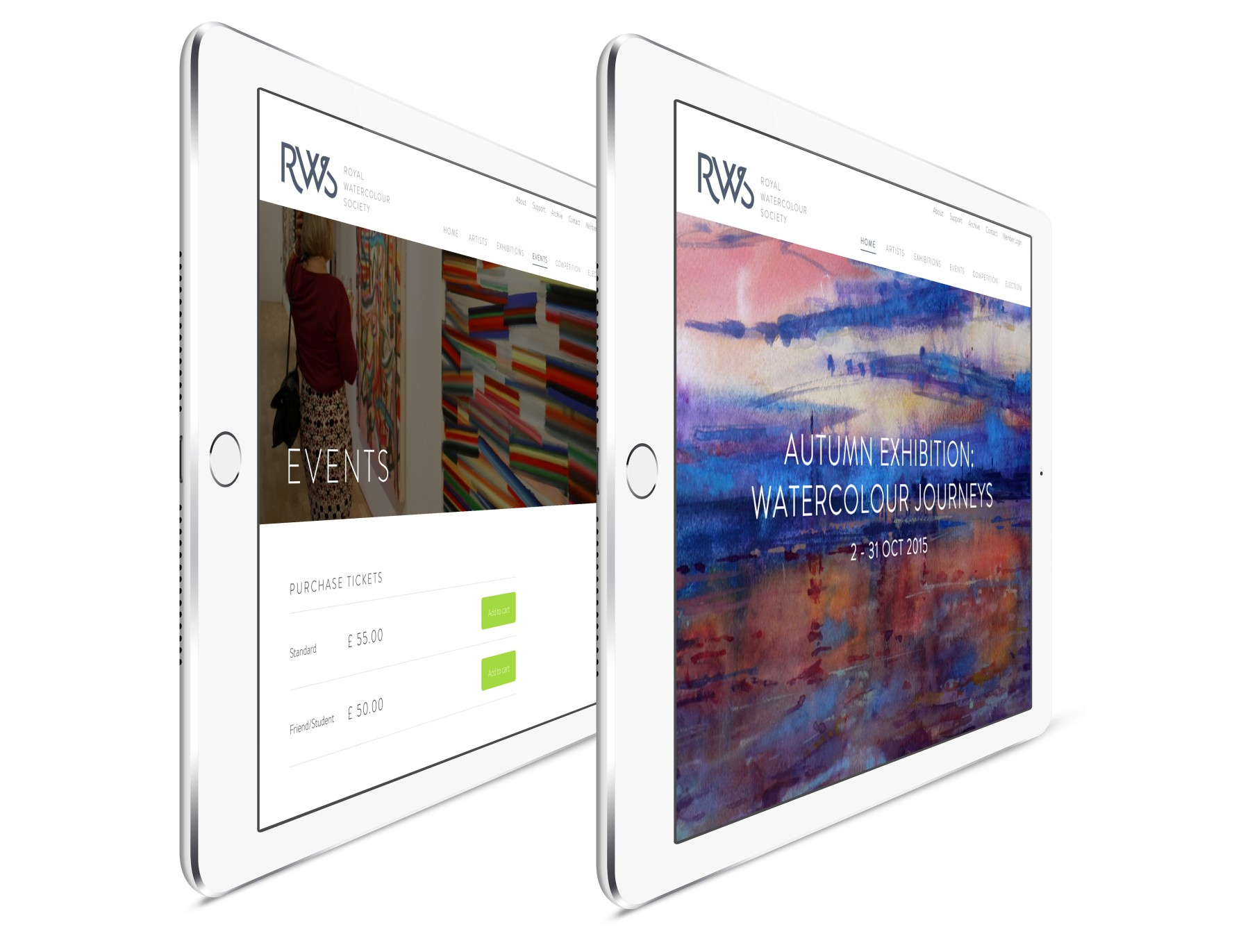 iPads with website examples