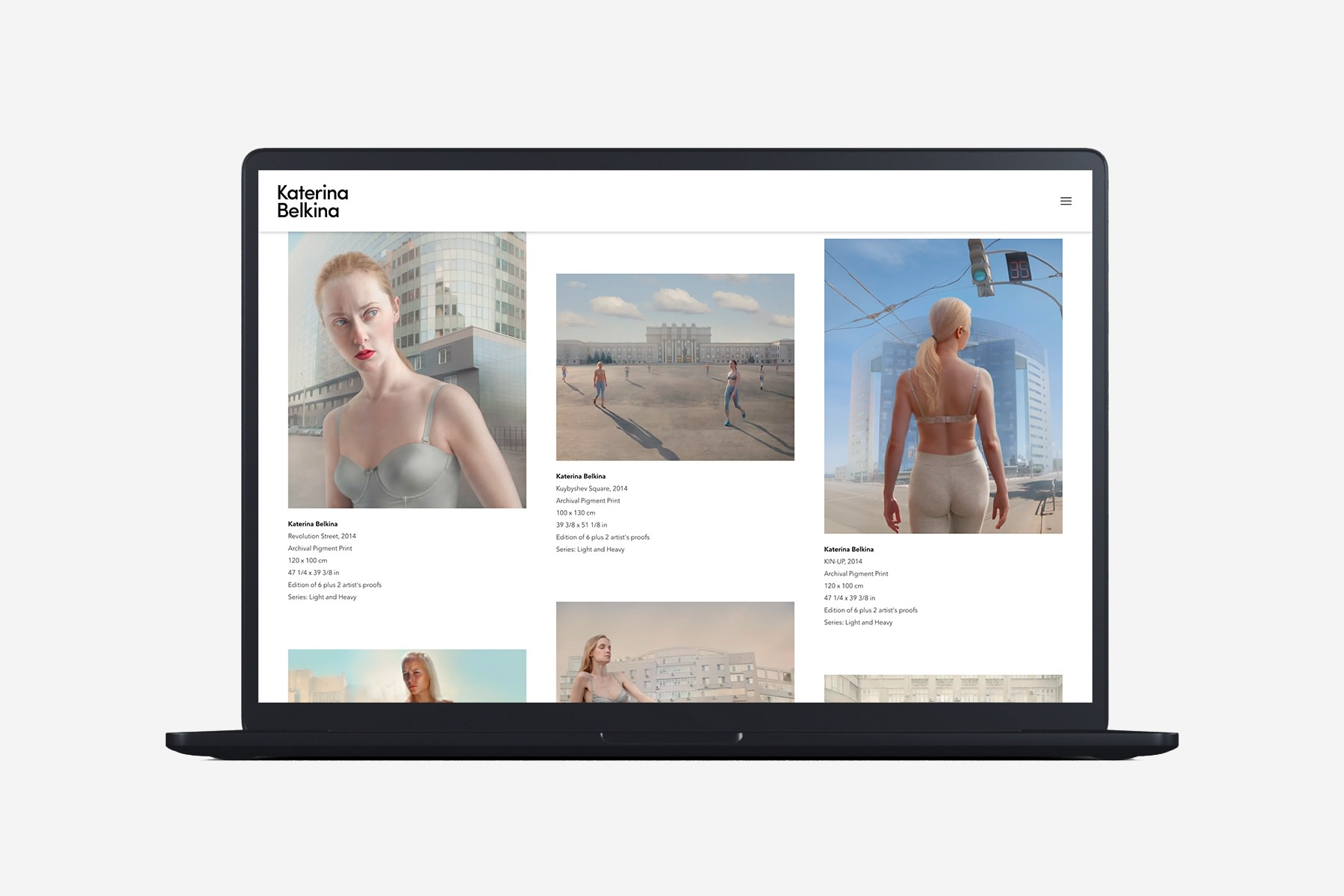 Laptop with example page of Katerina Belkina website