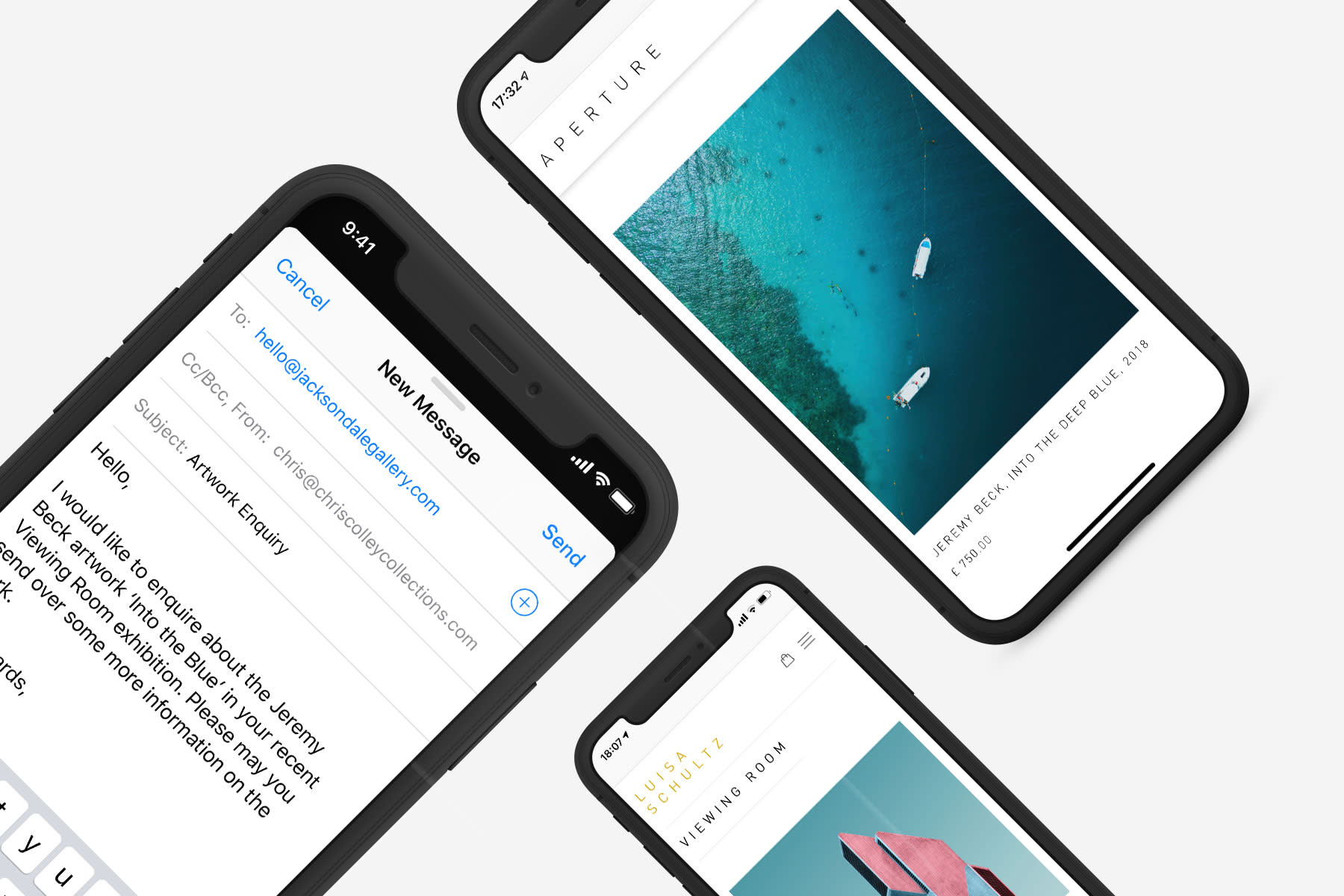 Email and website images on a mock ups of iPhones image