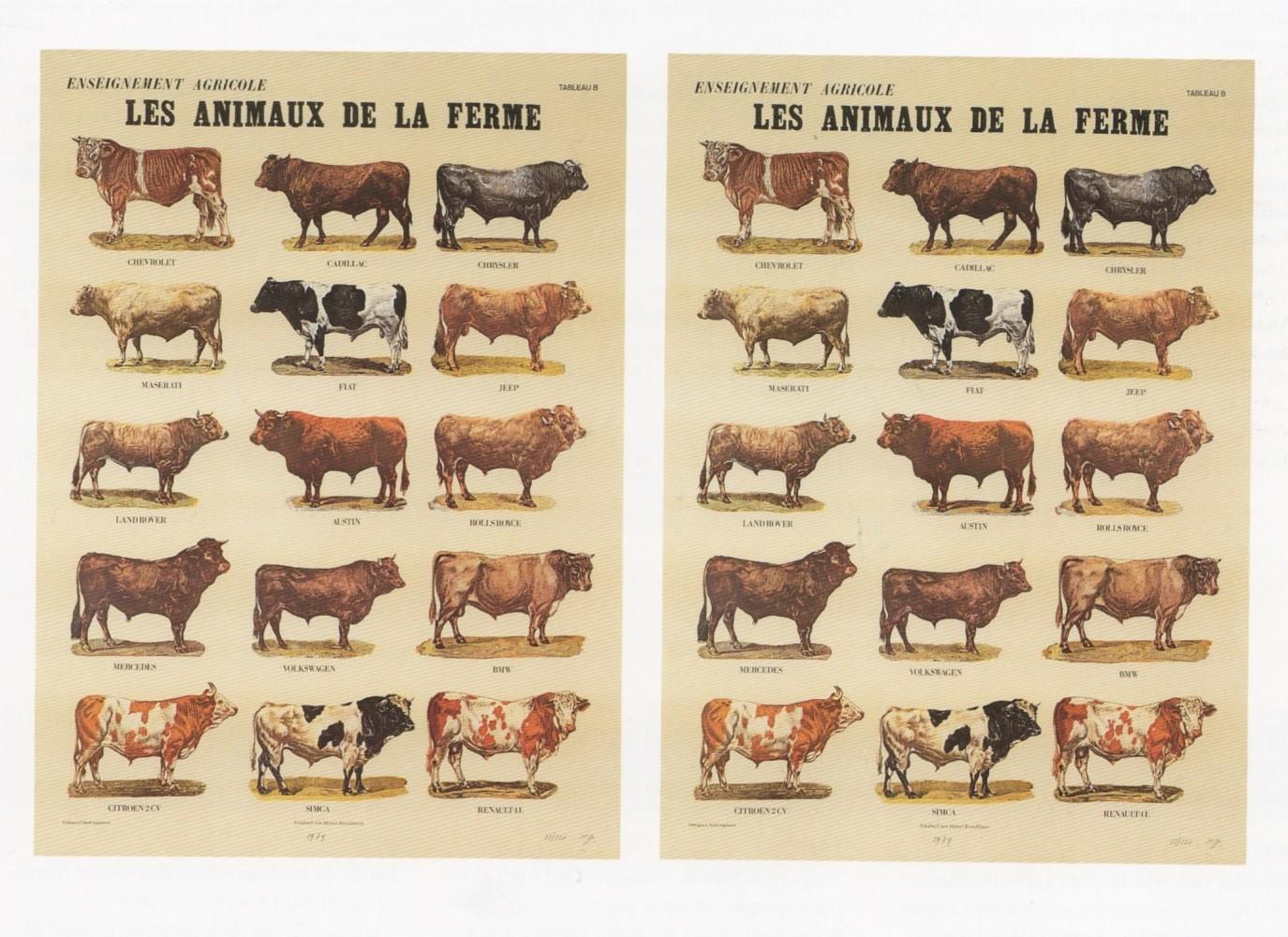 <div class=&#34;artist&#34;><strong>Marcel BROODTHAERS</strong></div> 1924 - 1976 <div class=&#34;title&#34;><em>Les animaux de la ferme</em>, 1974</div> <div class=&#34;signed_and_dated&#34;>Signed and numbered</div> <div class=&#34;medium&#34;>Two sheets in offset colour print Schoeller-Parole paper</div> <div class=&#34;dimensions&#34;>82 x 60.3 cm</div> <div class=&#34;edition_details&#34;>Edition of 120</div>