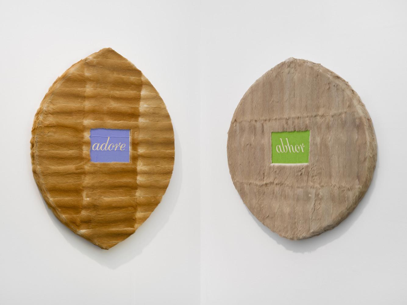 <div class=&#34;artist&#34;><strong>Helen CHADWICK</strong></div> 1953 - 1996 <div class=&#34;title&#34;><em>Adore; Abhor</em>, 1994</div> <div class=&#34;medium&#34;>Oil on fur, plywood, MDF, on two panels</div> <div class=&#34;dimensions&#34;>2 panels; 100 x 110 cm and 116 x 93 cm</div> <div class=&#34;edition_details&#34;>Unique</div>