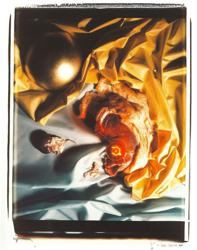 <div class=&#34;artist&#34;><strong>Helen CHADWICK</strong></div> 1953 - 1996 <div class=&#34;title&#34;><em>Meat Abstract No. 8: Gold Ball / Steak</em>, 1989</div> <div class=&#34;signed_and_dated&#34;>Signed AP</div> <div class=&#34;medium&#34;>Polaroid, silk mat</div> <div class=&#34;dimensions&#34;>81 x 71 cm<br /> </div> <div class=&#34;edition_details&#34;>Edition of 4 + 1 AP</div>