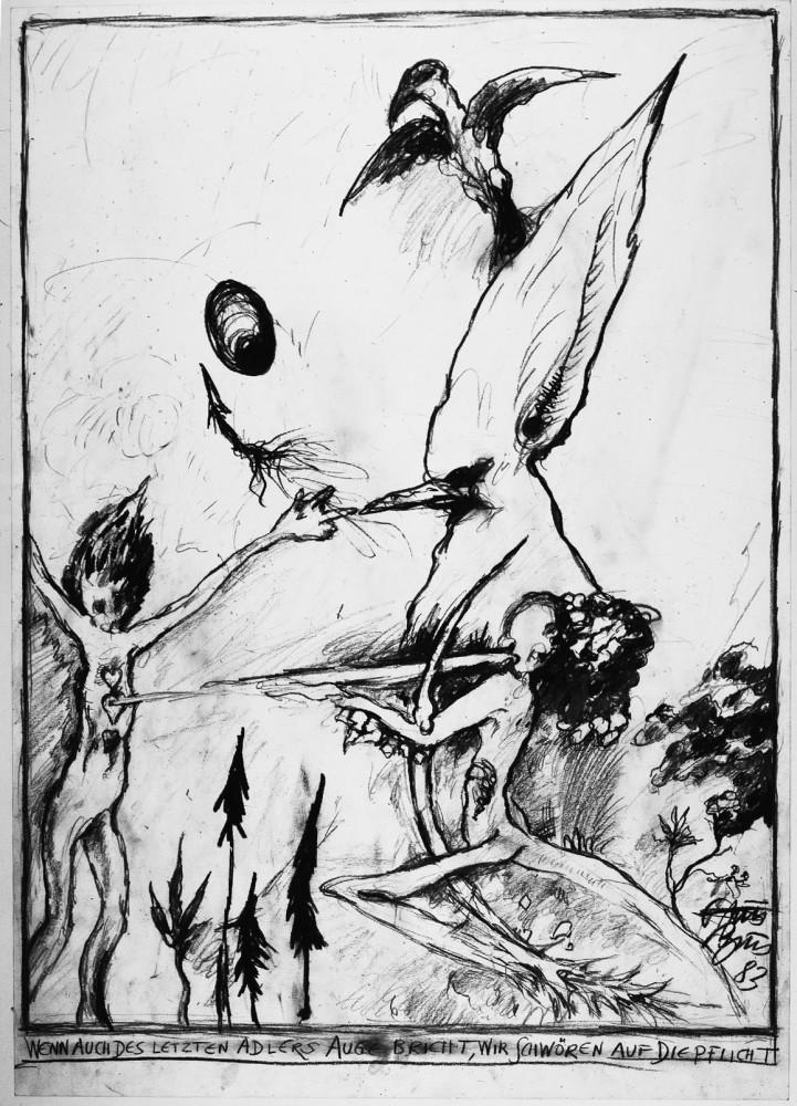 <div class=&#34;artist&#34;><strong>Günter BRUS</strong></div> 1938- <div class=&#34;title&#34;><em>Wenn auch des letzten Adlers Auge bricht, wir schwören auf die Pflicht</em>, 1983</div> <div class=&#34;medium&#34;>Pencil on paper</div> <div class=&#34;dimensions&#34;>88.5 x 62.5 cm</div>