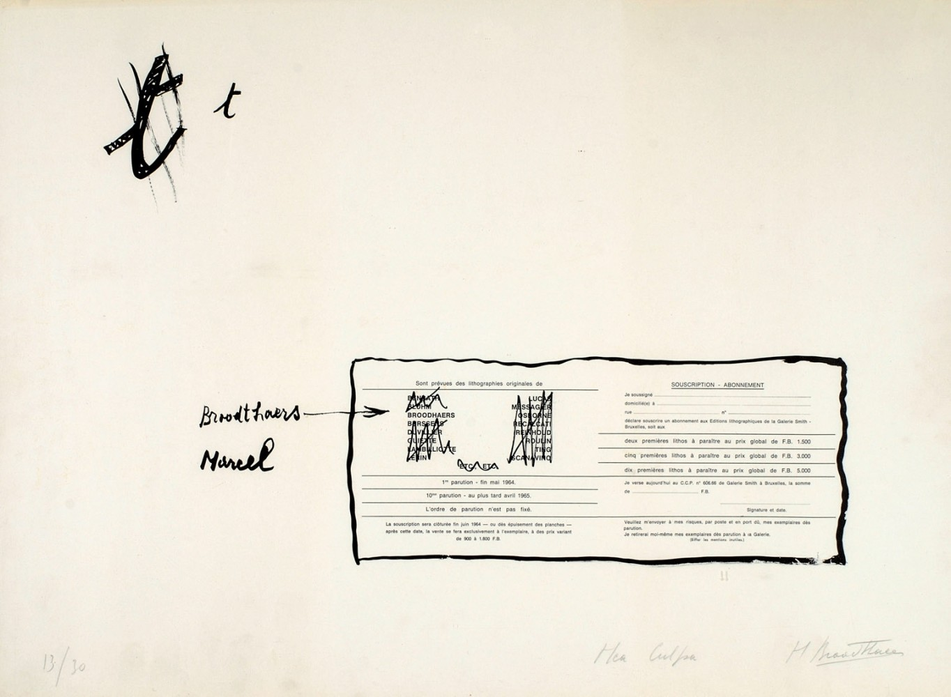 <div class=&#34;artist&#34;><strong>Marcel BROODTHAERS</strong></div> 1924 - 1976 <div class=&#34;title&#34;><em>La Faute d'orthographe (Mea culpa)</em>, 1964</div> <div class=&#34;signed_and_dated&#34;>Signed, numbered 3/30</div> <div class=&#34;medium&#34;>Offset print in two colours (black and white) on paper</div> <div class=&#34;dimensions&#34;>45 x 60.5 cm</div> <div class=&#34;edition_details&#34;>Edition 3 of 30</div>