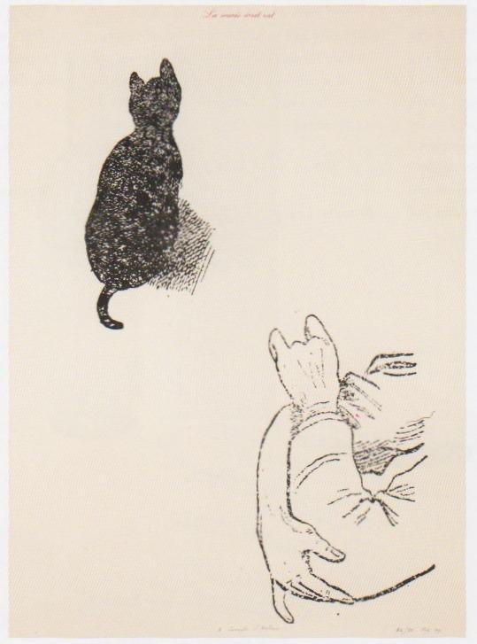 <div class=&#34;artist&#34;><strong>Marcel BROODTHAERS</strong></div> 1924 - 1976 <div class=&#34;title&#34;><em>La Souris écrit rat (A Compte d'auteur)</em>, 1974</div> <div class=&#34;signed_and_dated&#34;>Annotated 'A compte d'auteur', numbered, dated '74 and signed 'M.B.' bottom right</div> <div class=&#34;medium&#34;>Black and red letterpress print</div> <div class=&#34;dimensions&#34;>76.3 x 56.5 cm</div> <div class=&#34;edition_details&#34;>Edition 38 of 150</div>