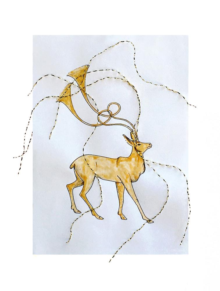 <div class=&#34;artist&#34;><strong>Mariella BETTINESCHI</strong></div> 1948- <div class=&#34;title&#34;><em>Il cervo d'oro [The golden deer]</em>, 2011</div> <div class=&#34;medium&#34;>Watercolour on paper, gold threads</div> <div class=&#34;dimensions&#34;>31 x 30 x 2 cm</div>