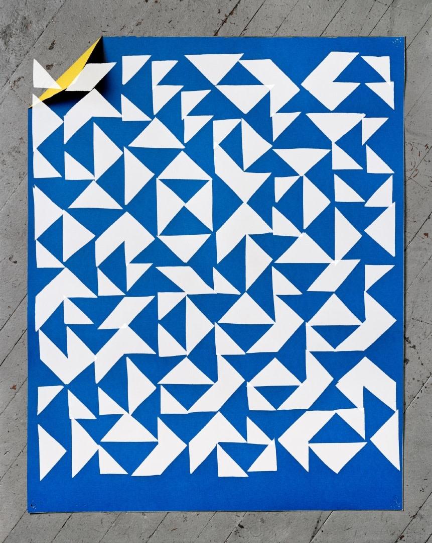 Hannah Whitaker, Blue Paper (Albers), 2014