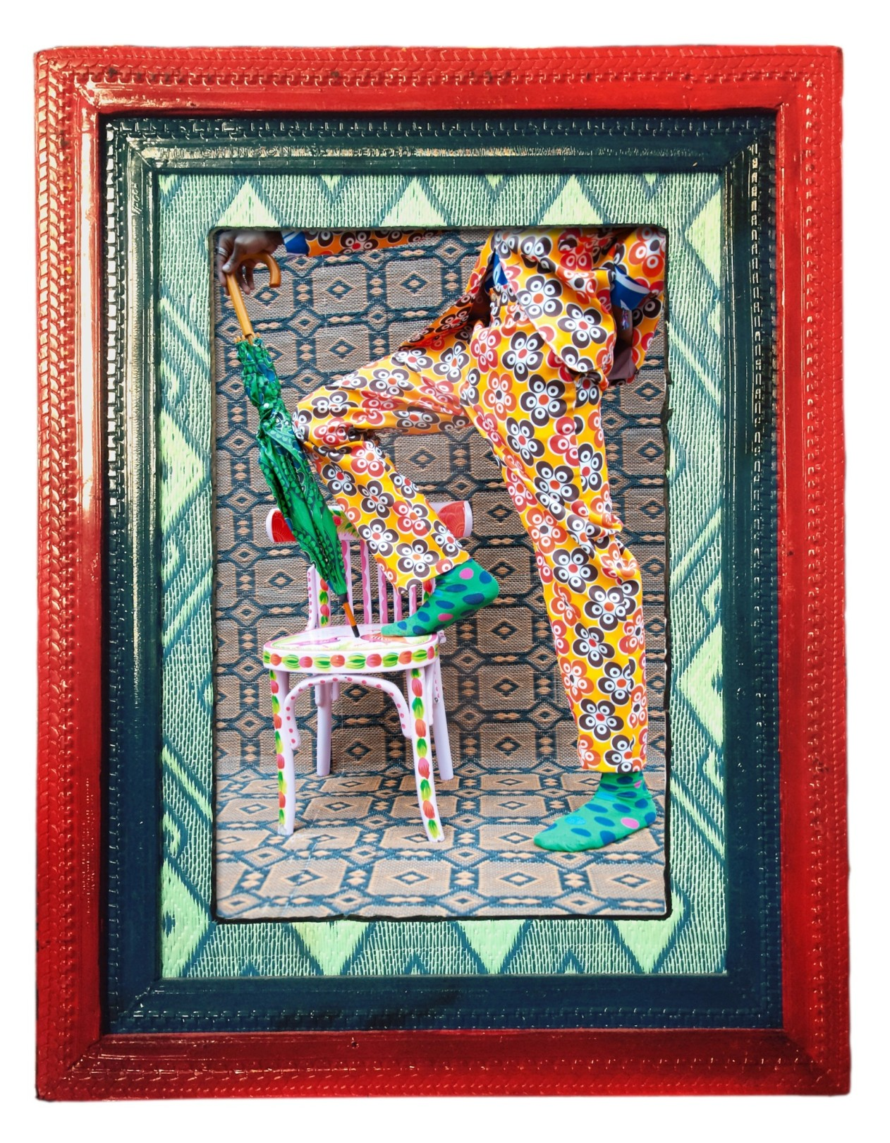 Hassan Hajjaj Simo Legs in Red, 2014/1435 Print: Metallic Lambda on 3mm dibond Frame: Wood, tyre, plastic mat & perspex Frame: 37.4h x 27.56w in / 95h x 70w cm Print: 29.53h x 19.69w in (75h x 50w cm) edition of 5 plus 2 artist's proofs
