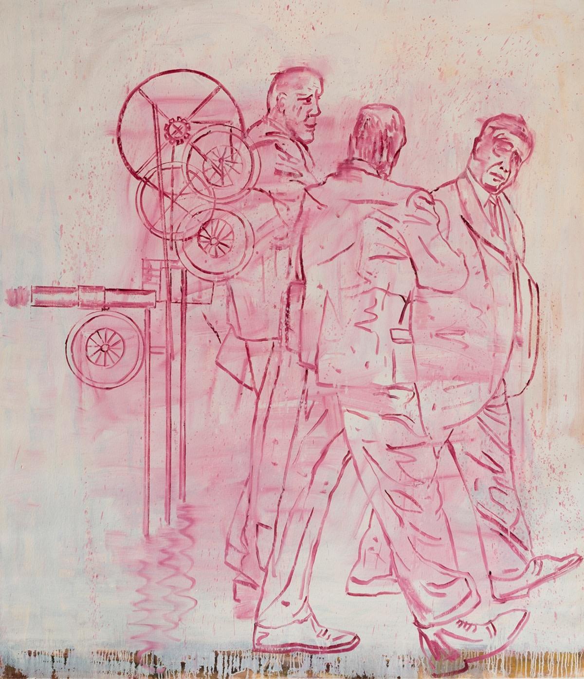 Nicky Nodjoumi Machine Men, 2012 Oil on Canvas 152.4 x 132 cm. / 60 x 52 in.