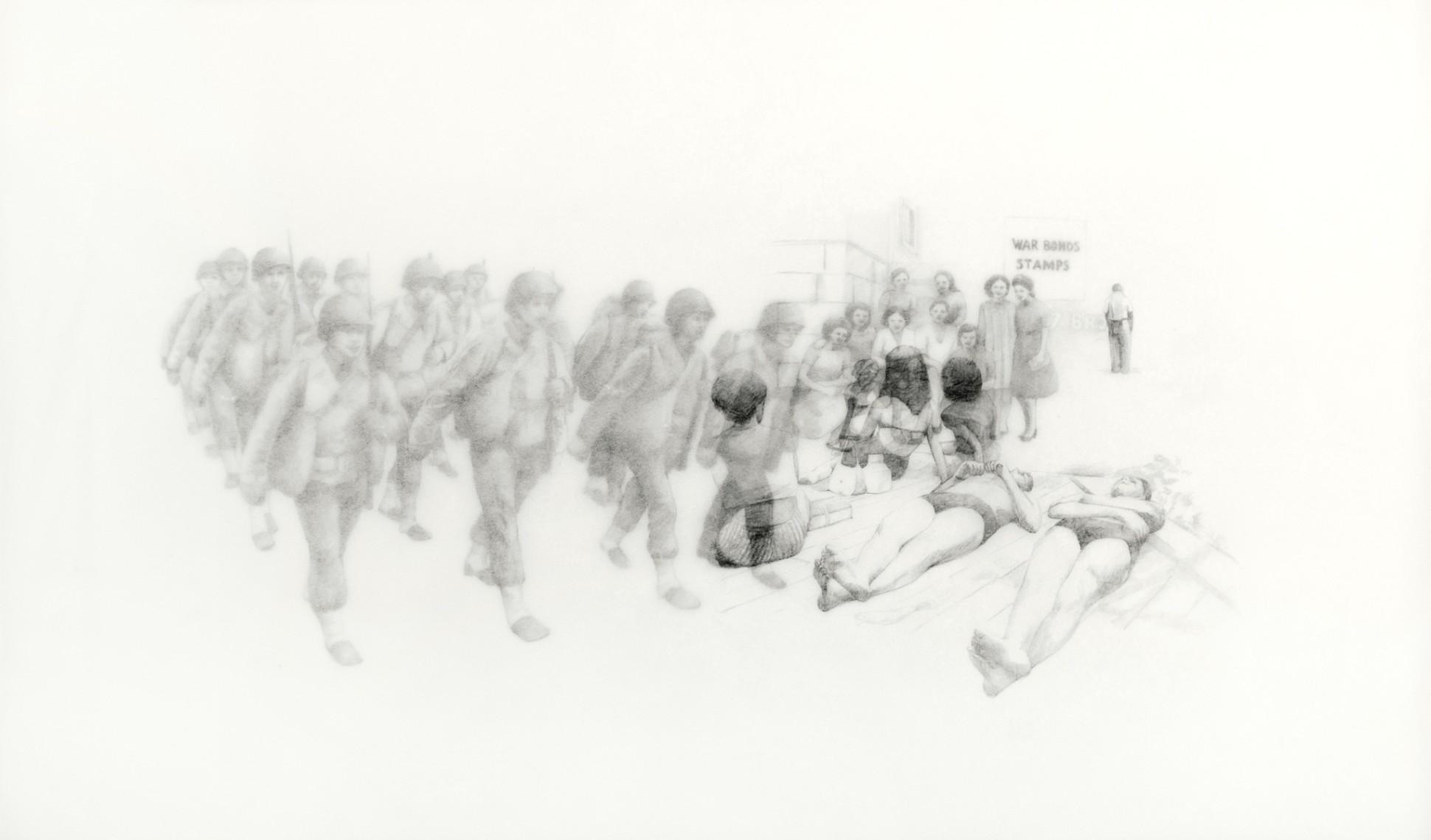 Rania Bellou Confession of a Stolen Kiss V, 2014 Pencil on Kozo Paper 62.6 x 90.6 cm. / 24 5/8 x 35 5/8 in.