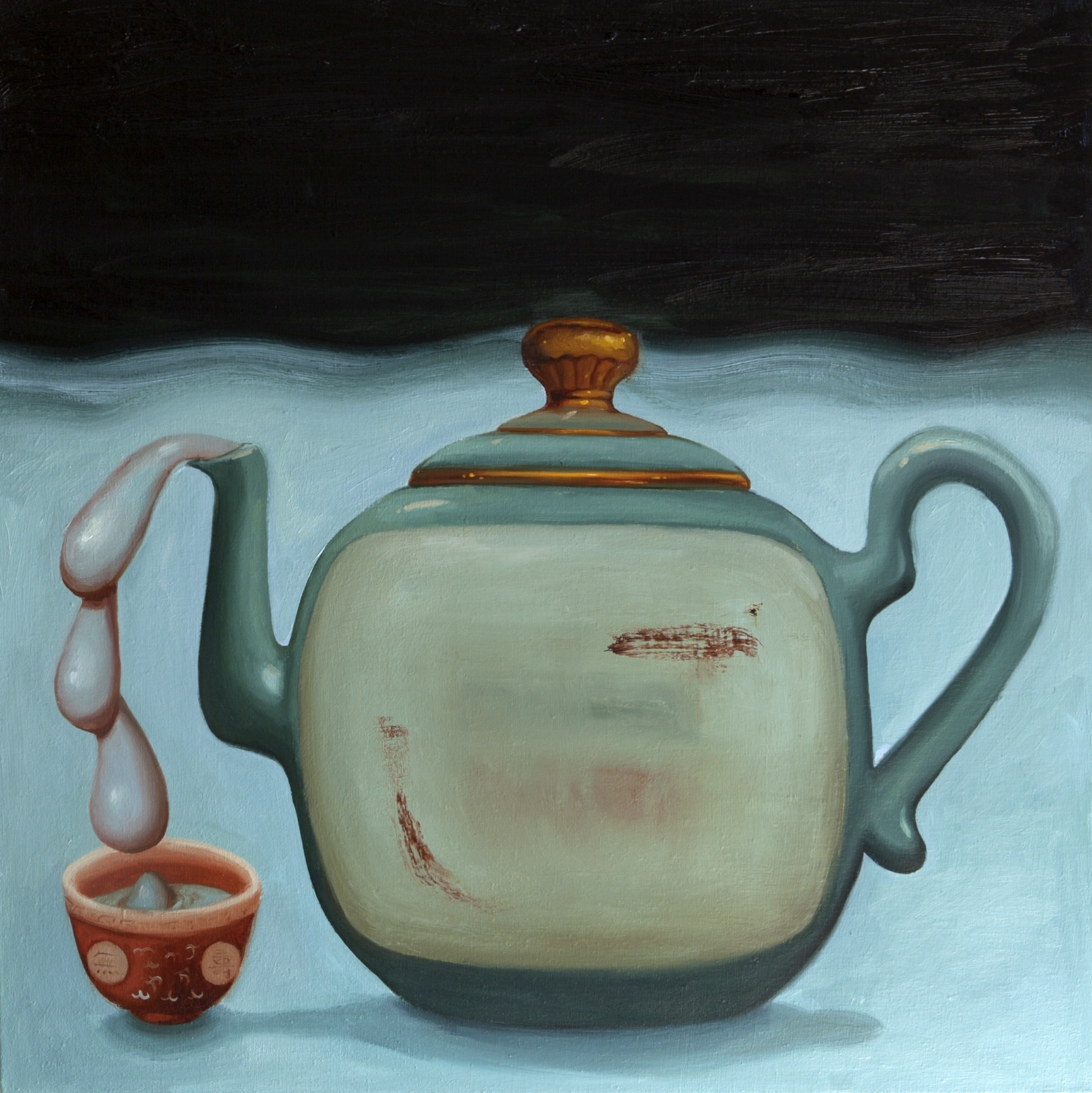 Dominique Fung Tea Time, Me Time, 2019 Oil on linen 76.2cm x 76.2 cm 30 x 30 in.
