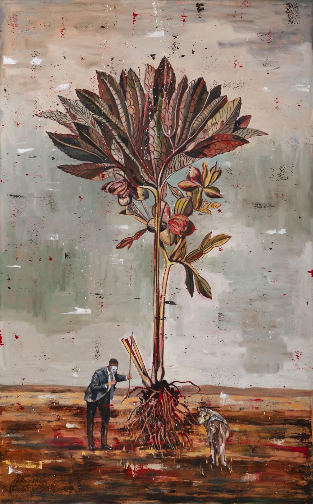 Nicky Nodjoumi Environmental Series - Helleborus Purourascene, 2019 Oil on canvas 235 x 152 cm. / 96 x 60 in.