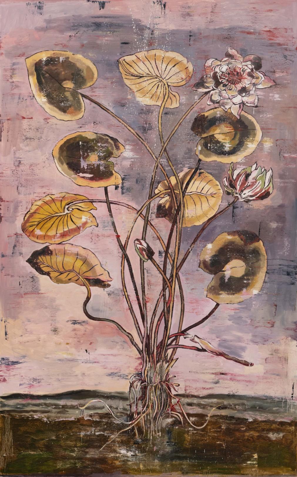 Nicky Nodjoumi Environmental Series - Nymphoa Allba, 2018 Oil on canvas 244 x 153 cm. / 96 x 60 in.