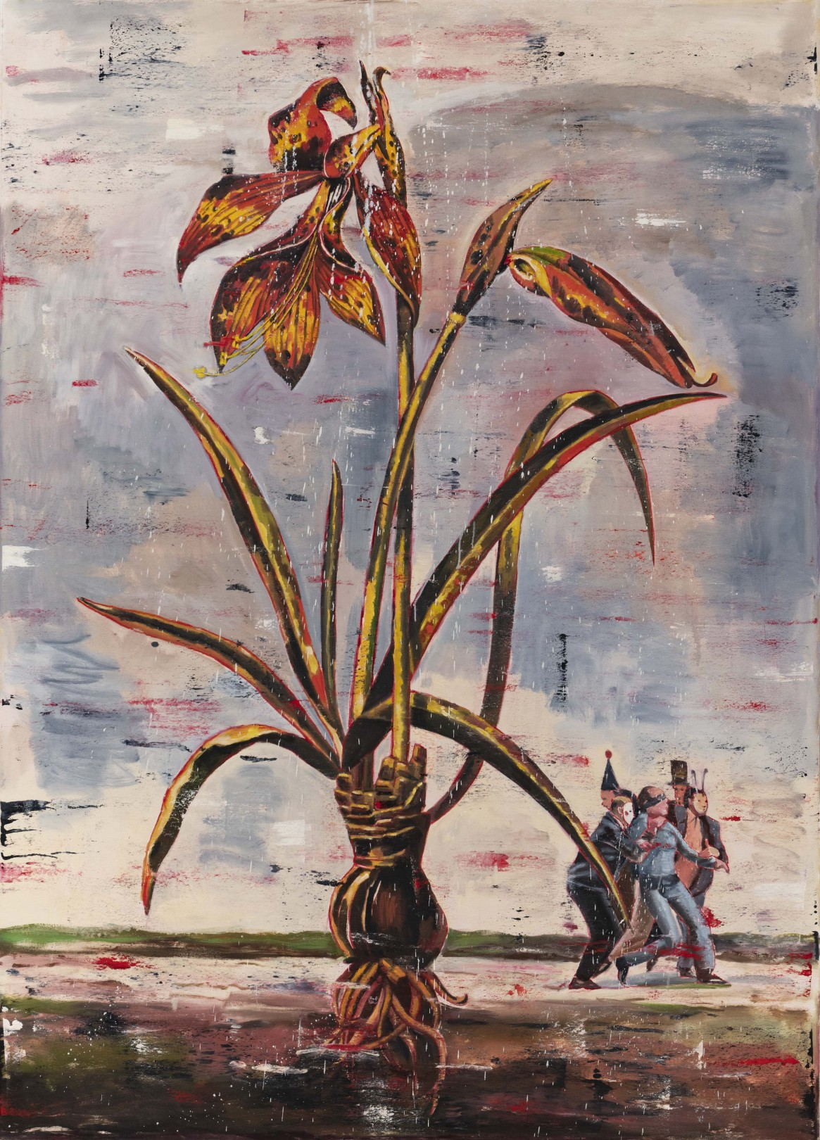 Nicky Nodjoumi Environmental Series - Jacobean Lily, 2019 Oil on canvas 183 x 132 cm. / 72 x 52 in.