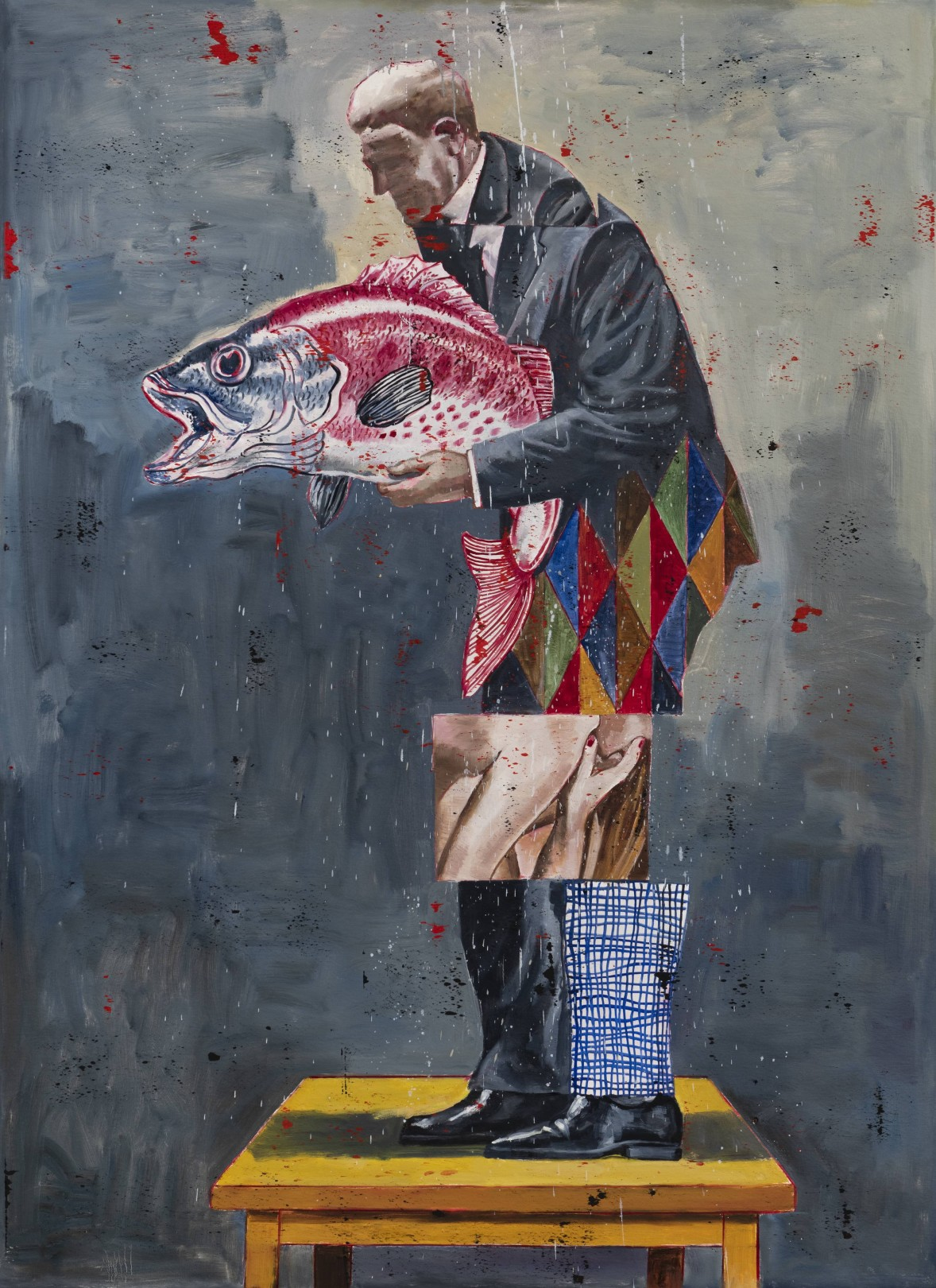 Nicky Nodjoumi Early Stage of The Game, 2019 Oil on canvas 183 x 132 cm. / 72 x 52 in.