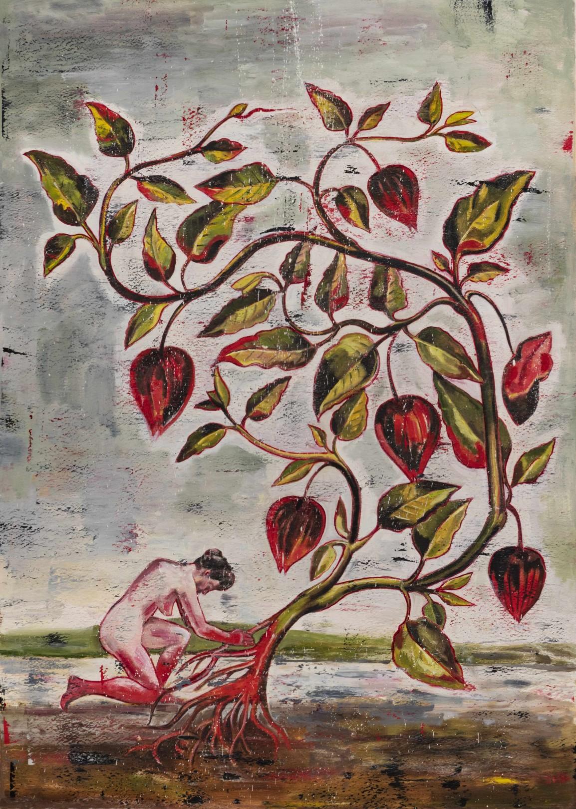 Nicky Nodjoumi Environmental Series - Physalis Alkekengi, 2019 0il on canvas 178 x 127 cm. / 70 x 50 in.
