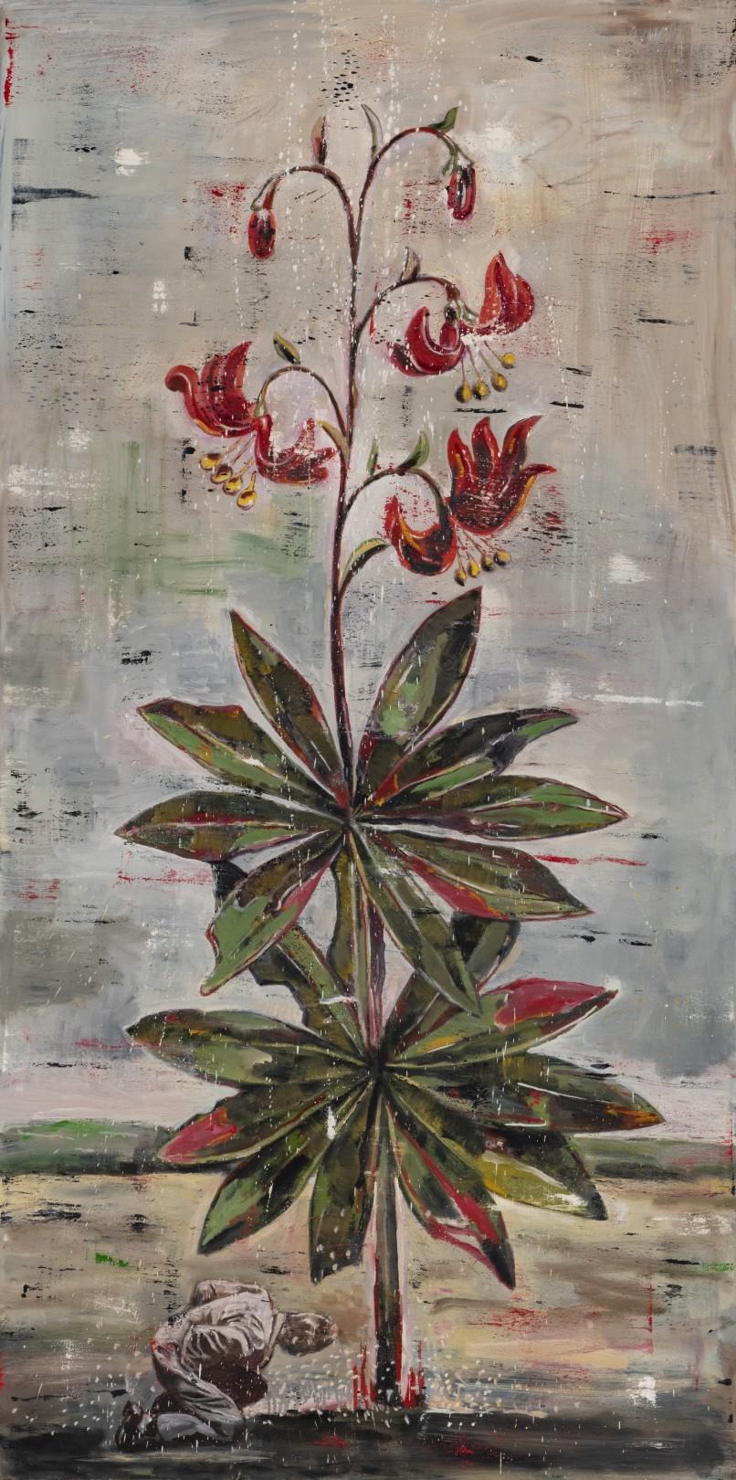 Nicky Nodjoumi Environmental Series - Martagon, 2018 Oil on canvas 183 x 91 cm. / 72 x 36 in.