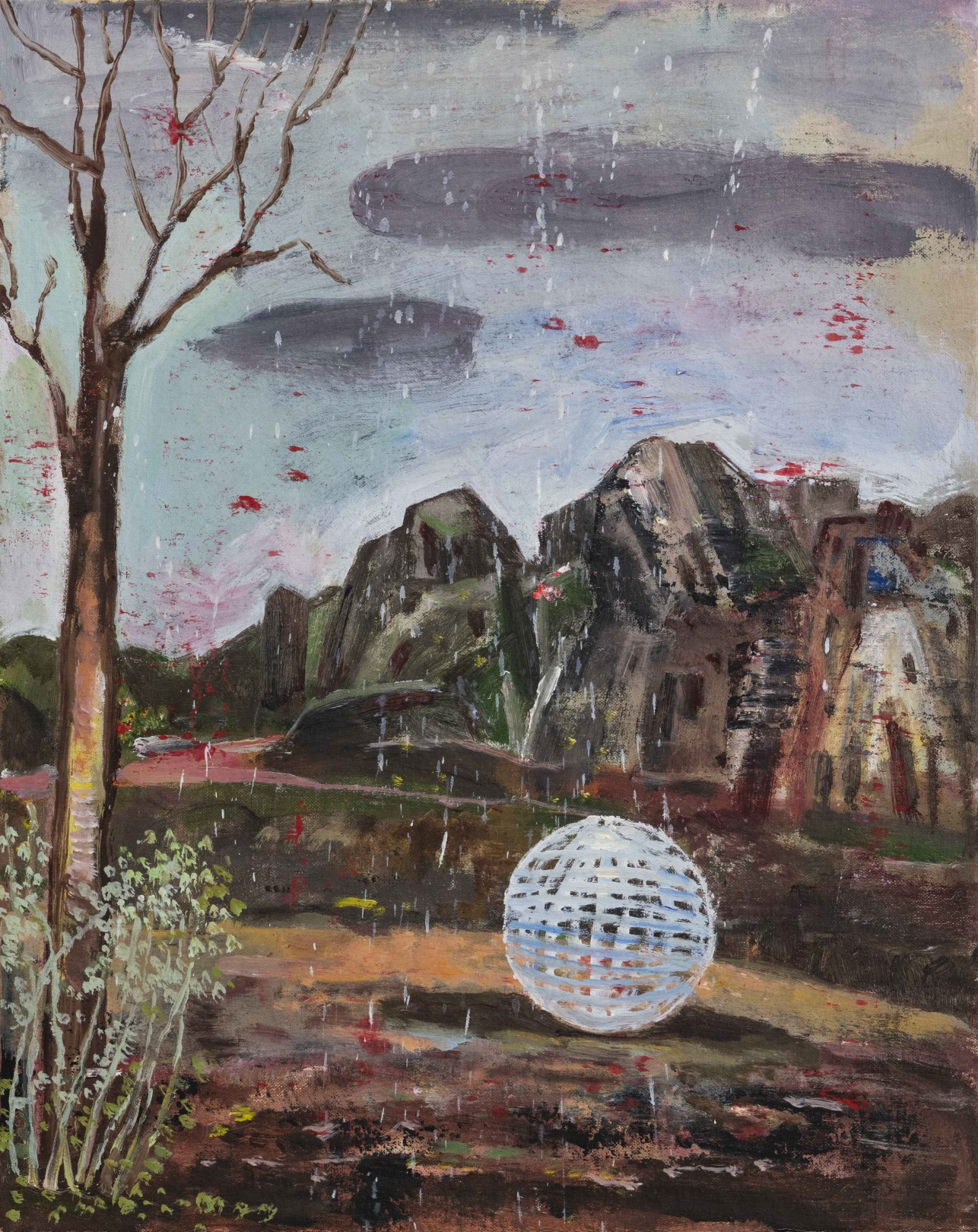 Nicky Nodjoumi The Ball, 2018 Oil on canvas 51 x 41 cm. / 20 x 16 in.