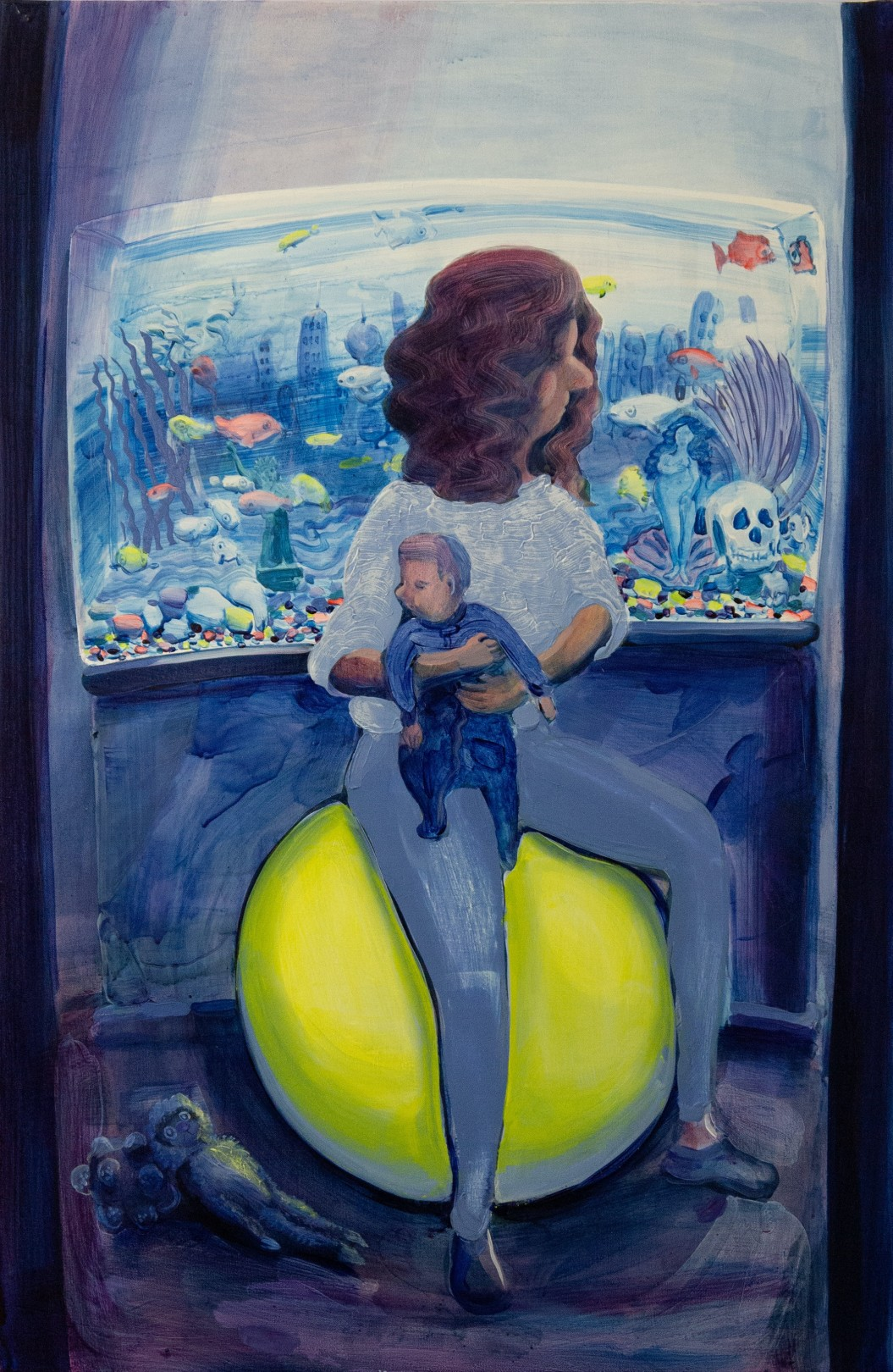 Hilary Doyle Mother and Child on a Yoga Ball II (Fish Tank), 2020 Acrylic on canvas 91.4 x 61 cm. / 36 x 24 in