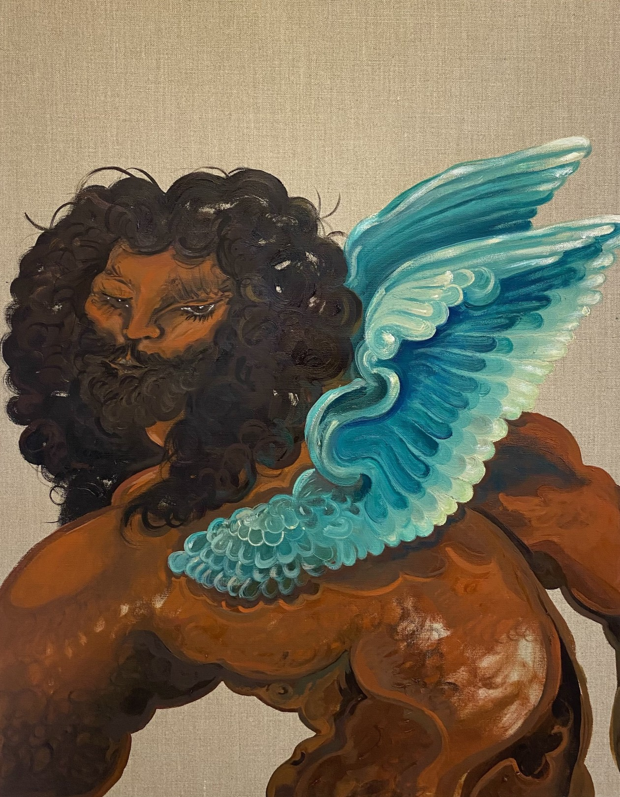 "Asif Hoque Study of ""Venere cupido e il satiro""- Bronzino, part 1 ( blue wings), 2020 Oil on linen 61 x 48 cm. / 24 x 19 in."