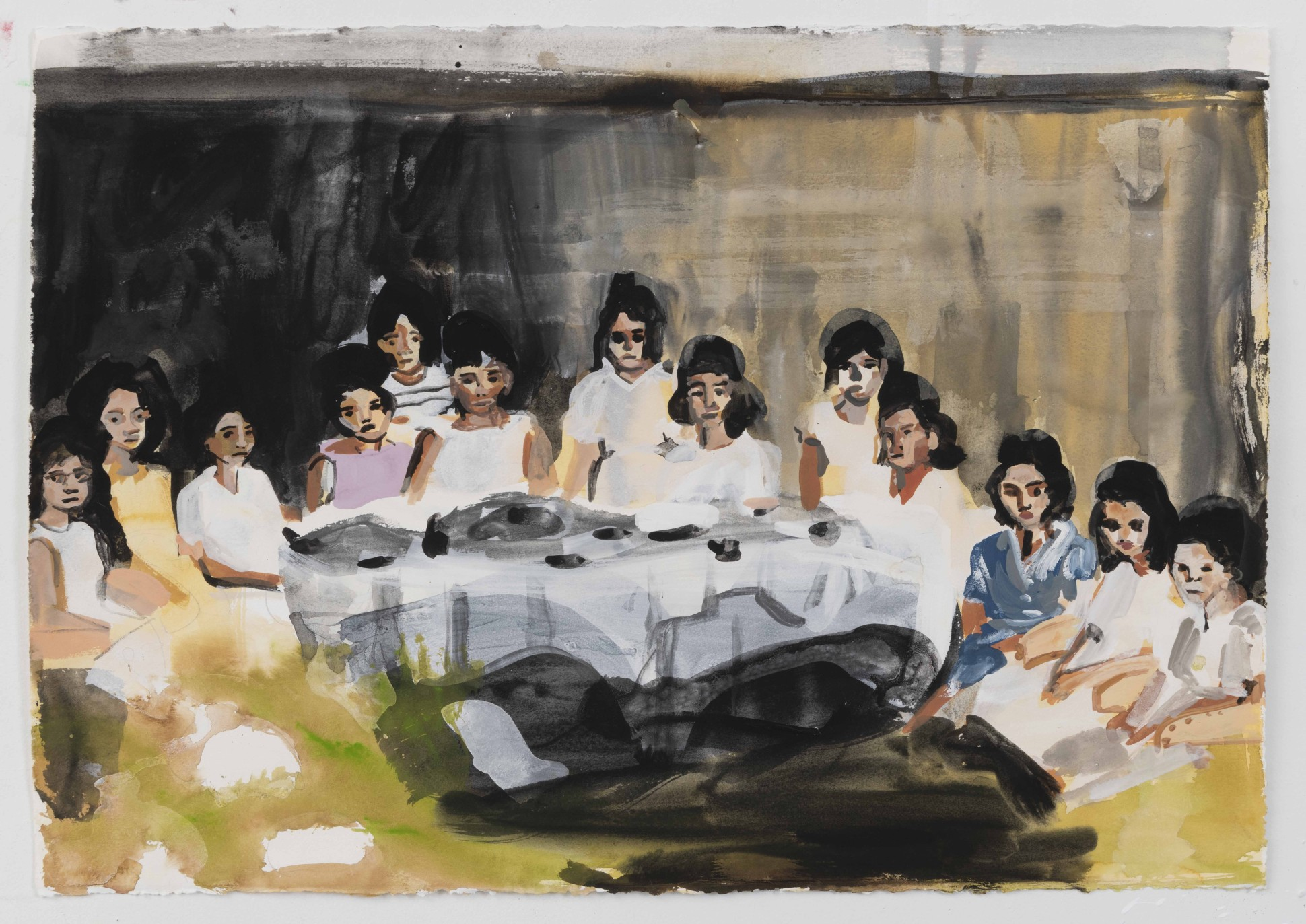 Maia Cruz Palileo Goodbye Party, 2016 Ink and gouache on paper 55.9 x 76.2 cm. / 22 x 30 in. Courtesy Monique Meloche and copyright of the artist