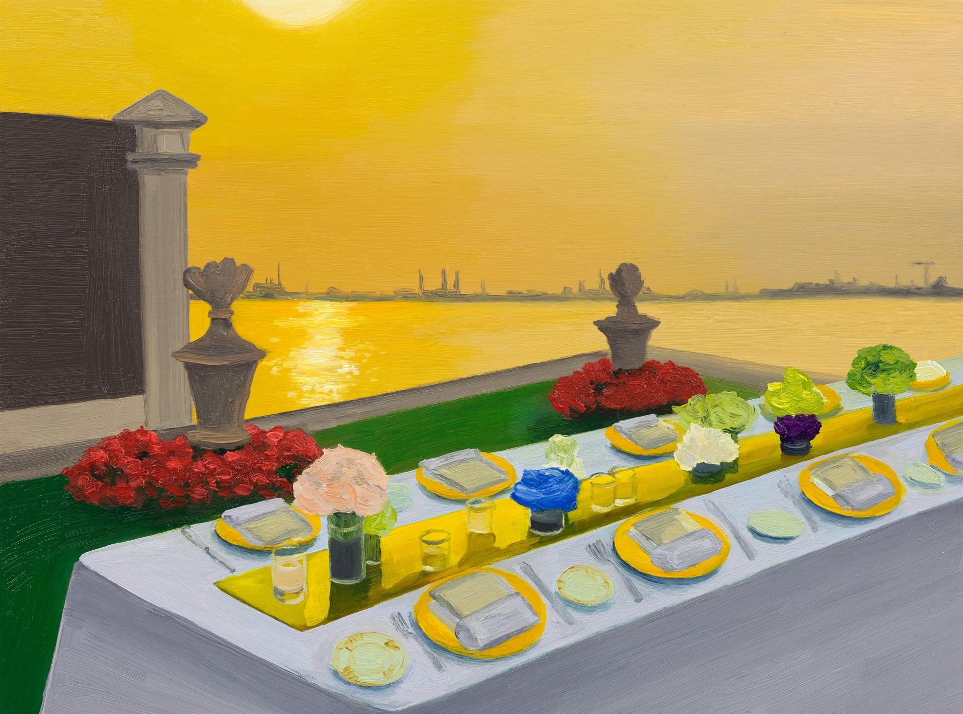 Biennale Dinner, 2021 Oil on panel 15 x 20.5 cm. / 6 x 8 in.