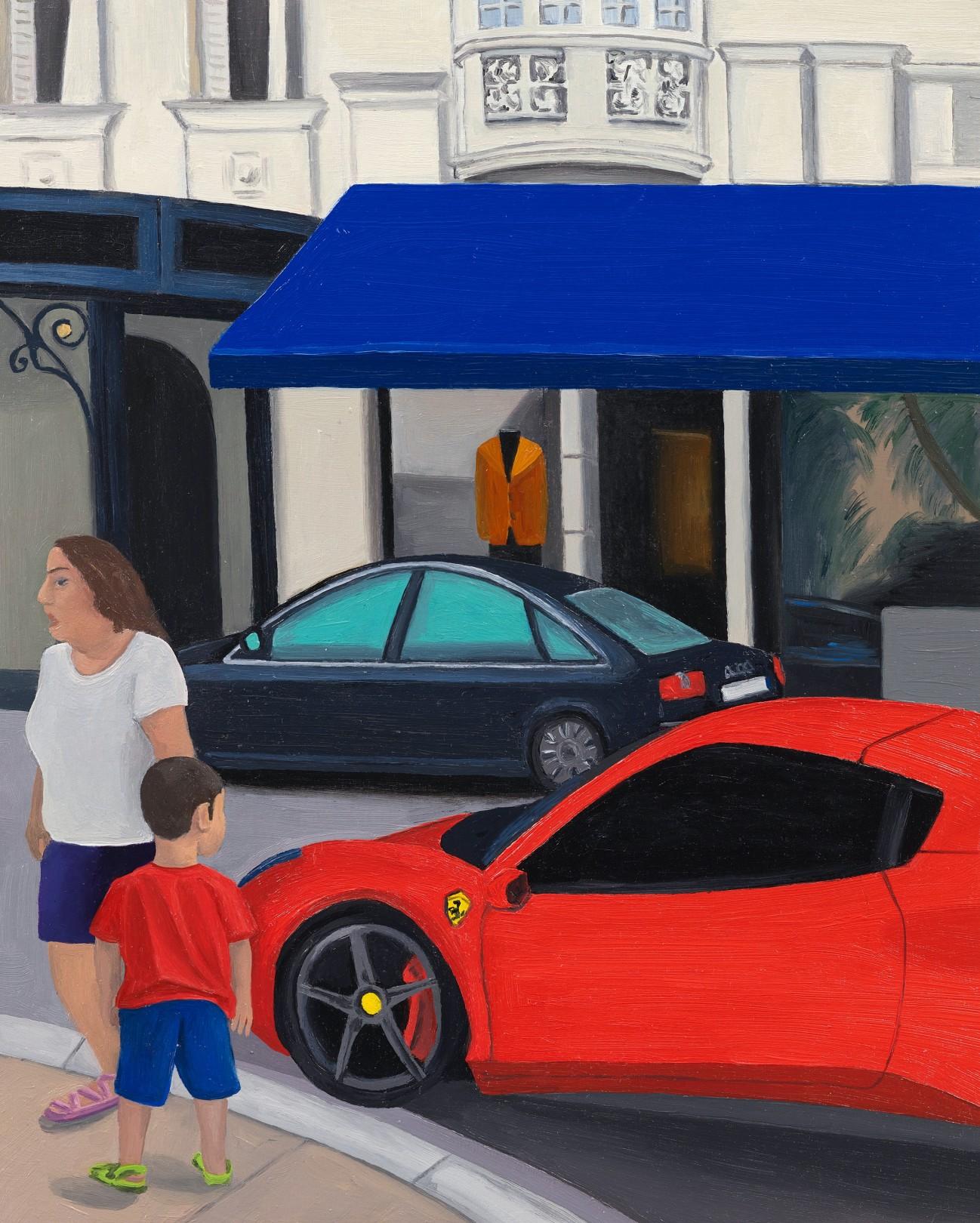 Boy and Ferrari, Monaco, 2020 Oil on panel 25.5 x 20 cm. / 10 x 8 in.