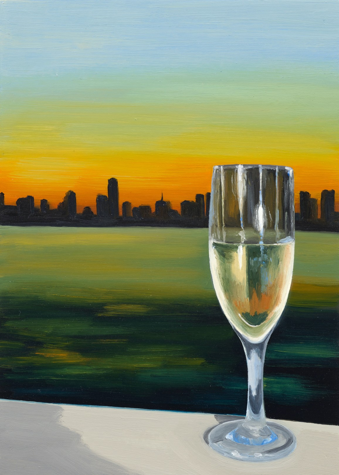 Champagne Sunset, 2021 Oil on panel 18 x 12.5 cm. / 7 x 5 in.