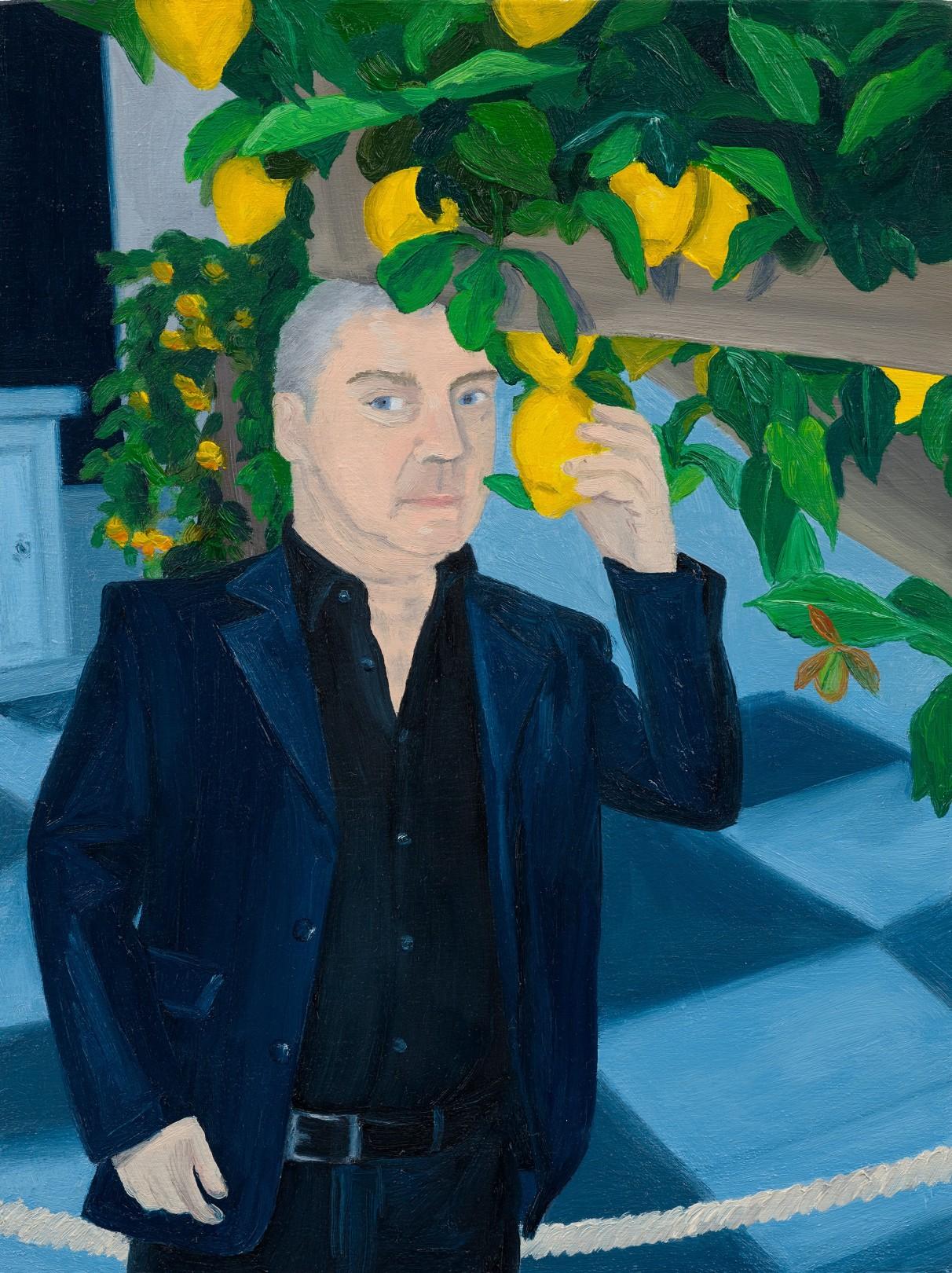 Damien Hirst with Lemon Tree, Venice, 2021 Oil on panel 20.5 x 15.5 cm. / 8 x 6 in.