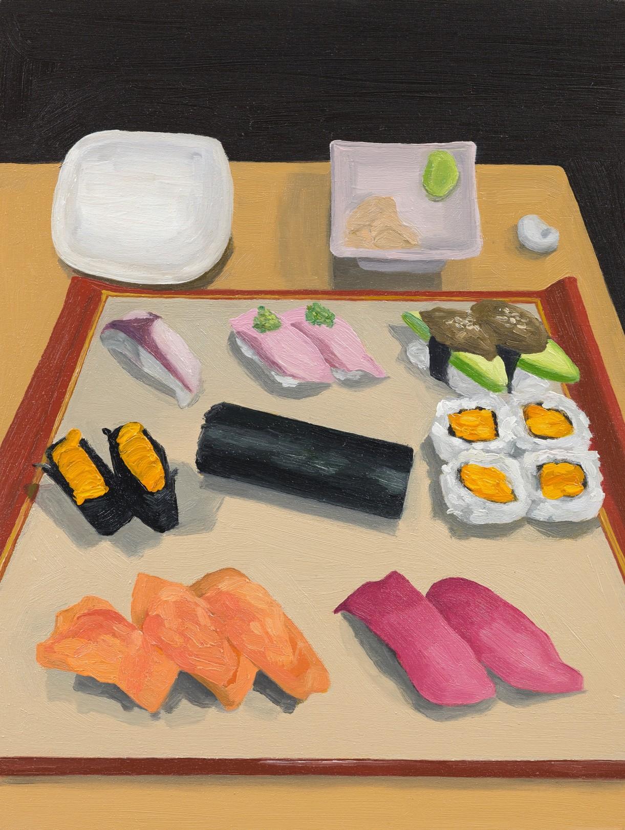 Sushi Platter, 2021 Oil on panel, 20.5 x 15.5 cm / 8 x 6 in.
