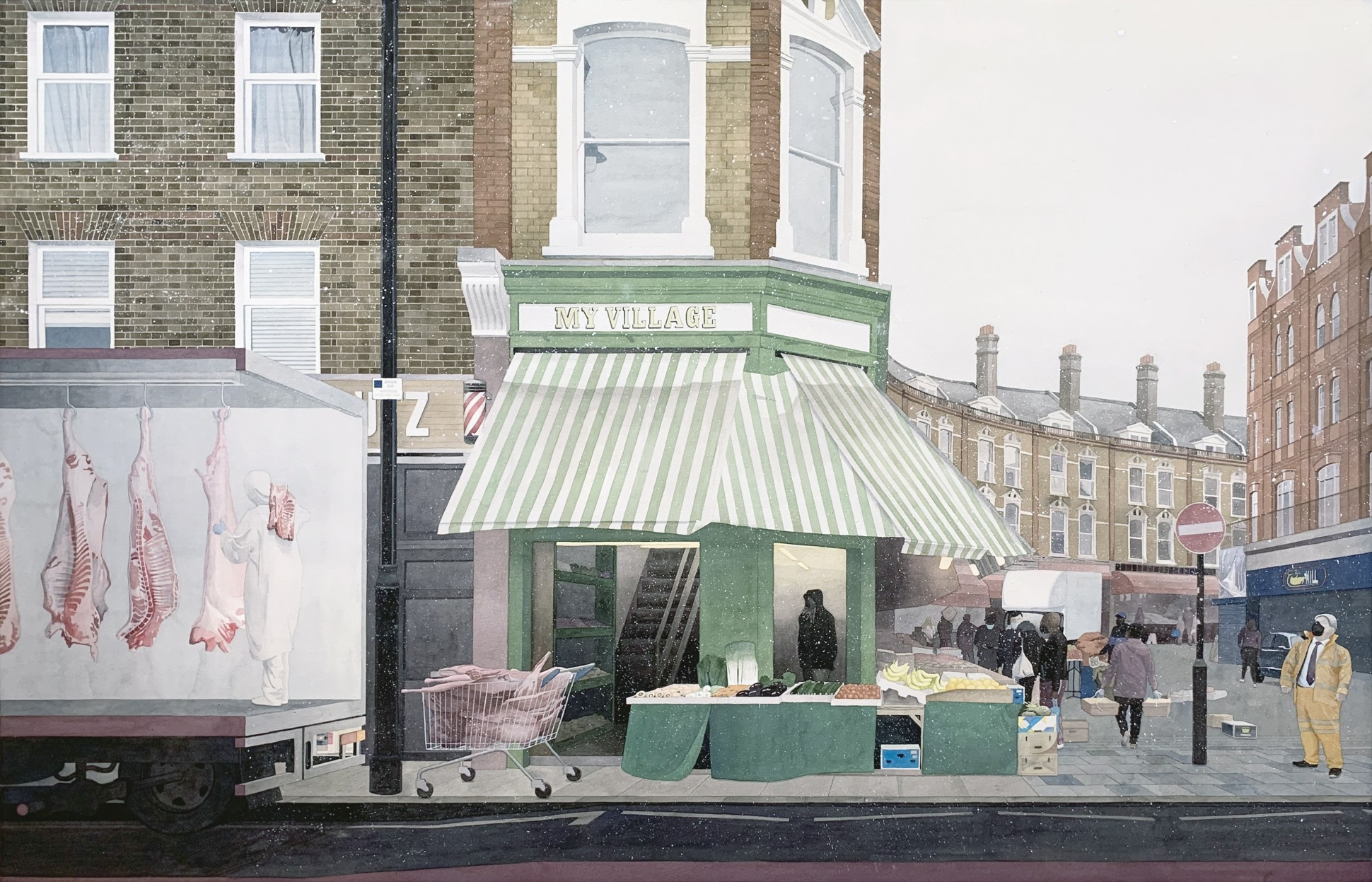 Common Market, 2021 103 x 154 cm. / 41 x 60 in. (Framed size) Watercolor and gouache on paper