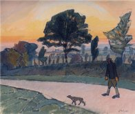 Sunset, Letchworth, with Man and Dog, 1912