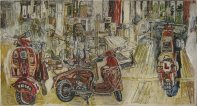 Three Lambrettas and Two Portraits of Janet Churchman, c1958