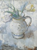White and Yellow Tulips in a Blue and White Jug, c.1940