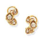 Pair of gem-set earrings, 1974