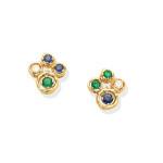 Pair of gem-set earrings, 1984
