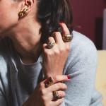 LGG Treasures Zolotas earrings (Greek), c. 1970s; Ruby & Diamond Ring; Gold & Diamond Ring, c. 1972; Tiger's Eye & Diamond Ring, C. 1970; Italian Enamel Ring, C. 1970.