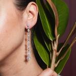Rosa de la Cruz Cascade Long 'A' Earring (single) 18k white gold and white diamonds (1.89ct) stamped '18K', '750' & signed 'W' 0.3 x 0.6 x 10.0 cm 4 g