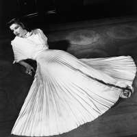 Katharine Hepburn in pleated dress
