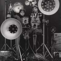 O. Winston Link and George Thom with Part of Equipment Used in making Night Scenes with Synchronizer Flash