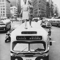 Bus Top, Dovima and Jean Patchett for Harper's Bazaar, December 1958, Madison Square, New York, NY