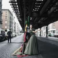Dovima Under the El, Dior Creates Cosmopolitan Drama, Under 3rd Avenue elevated train, New York, NY