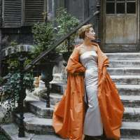 Model in Givenchy gown in a Paris Courtyard