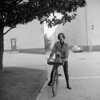 Audrey Hepburn: On Her Bike with Her Dog Mr. Famous at Paramount Studios